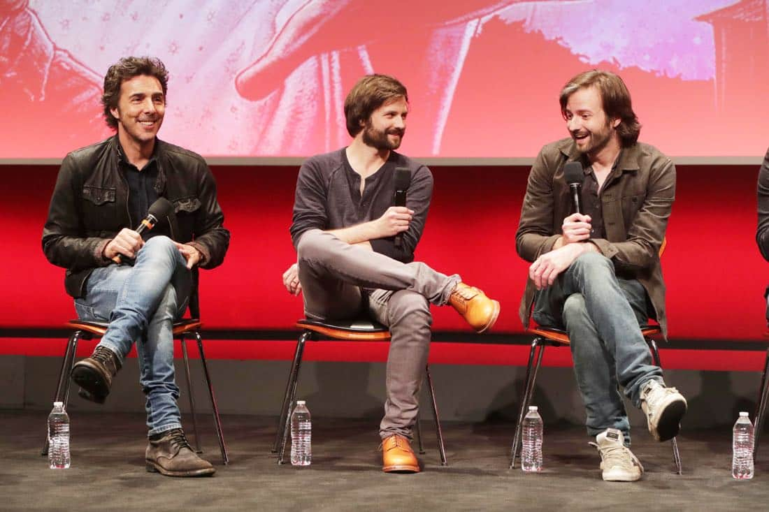 EXCLUSIVE - Director/Exec. Producer Shawn Levy, Writer/Director/Exec. Producer Ross Duffer and Writer/Director/Exec. Producer Matt Duffer seen at 'Stranger Things' Netflix FYSee exhibit space with a Q&A at the Samuel Goldwyn Theater on Tuesday, June 06, 2017, in Los Angeles. (Photo by Eric  Charbonneau/Invision for Netflix/AP Images)