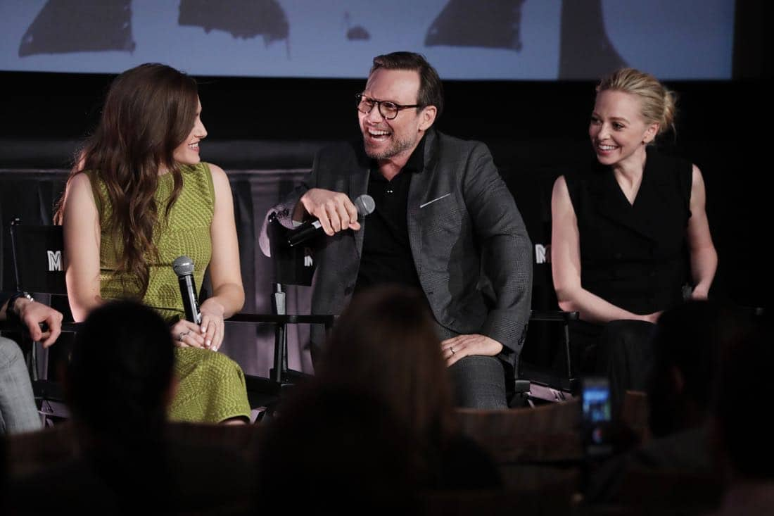 MR. ROBOT -- Official Emmy Event -- Pictured: (l-r) Carly Chaikin, Christian Slater, Portia Doubleday