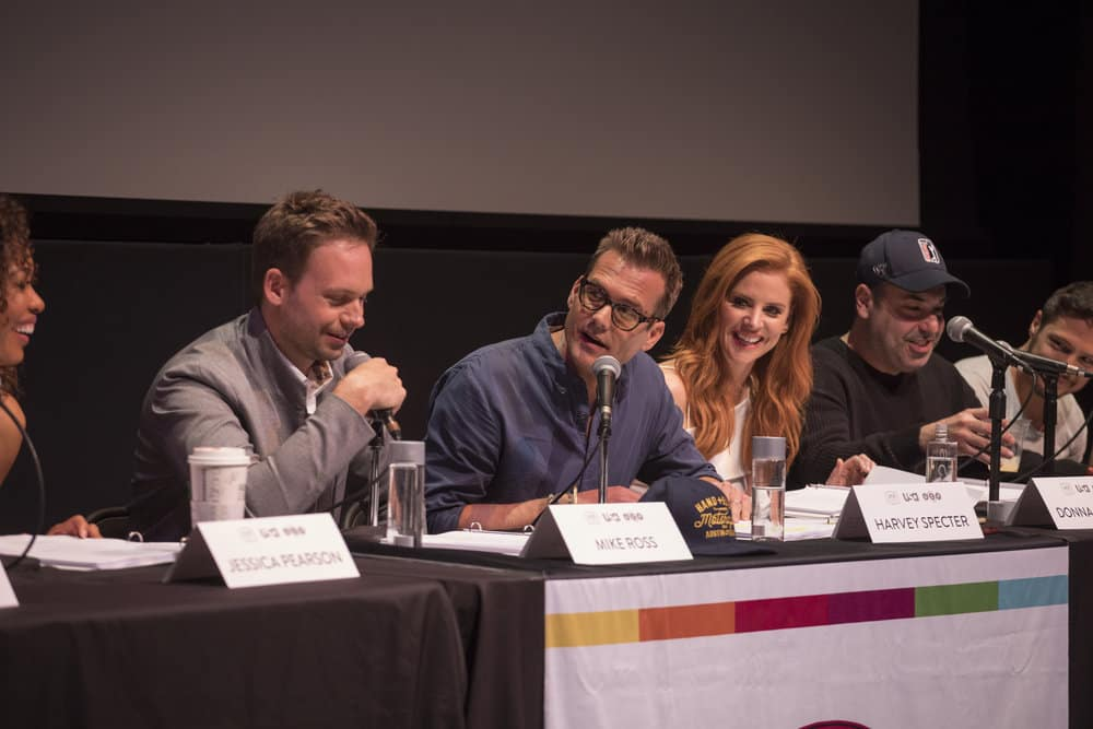 SUITS -- Script Reading Presented by USA Network -- Pictured: (l-r) Patrick J. Adams, Gabriel Macht , Sarah Rafferty, Rick Hoffman, Nick Wechsler -- (Photo by: Rick Kern/USA Network)