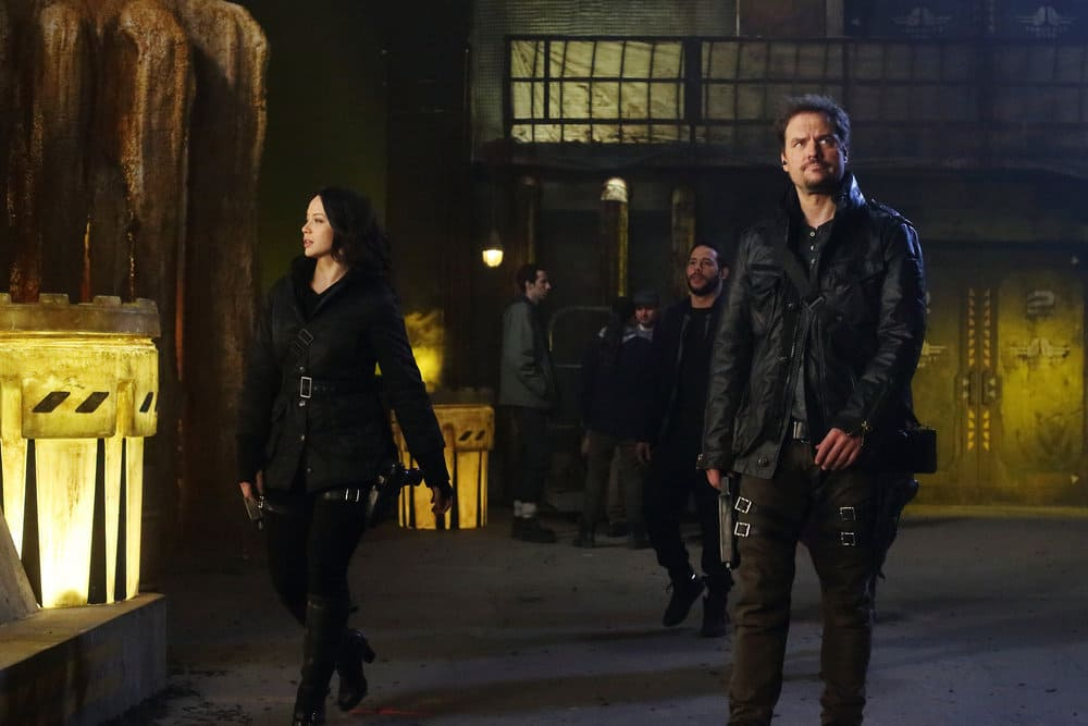 "DARK MATTER -- ""Welcome To The Revolution"" Episode 303 -- Pictured: (l-r) Melissa O'Neil as Two, Anthony Lemke as Three"