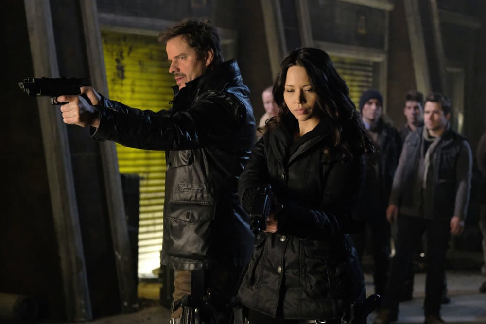 "DARK MATTER -- ""Welcome To The Revolution"" Episode 303 -- Pictured: (l-r) Anthony Lemke as Three, Melissa O'Neil as Two"
