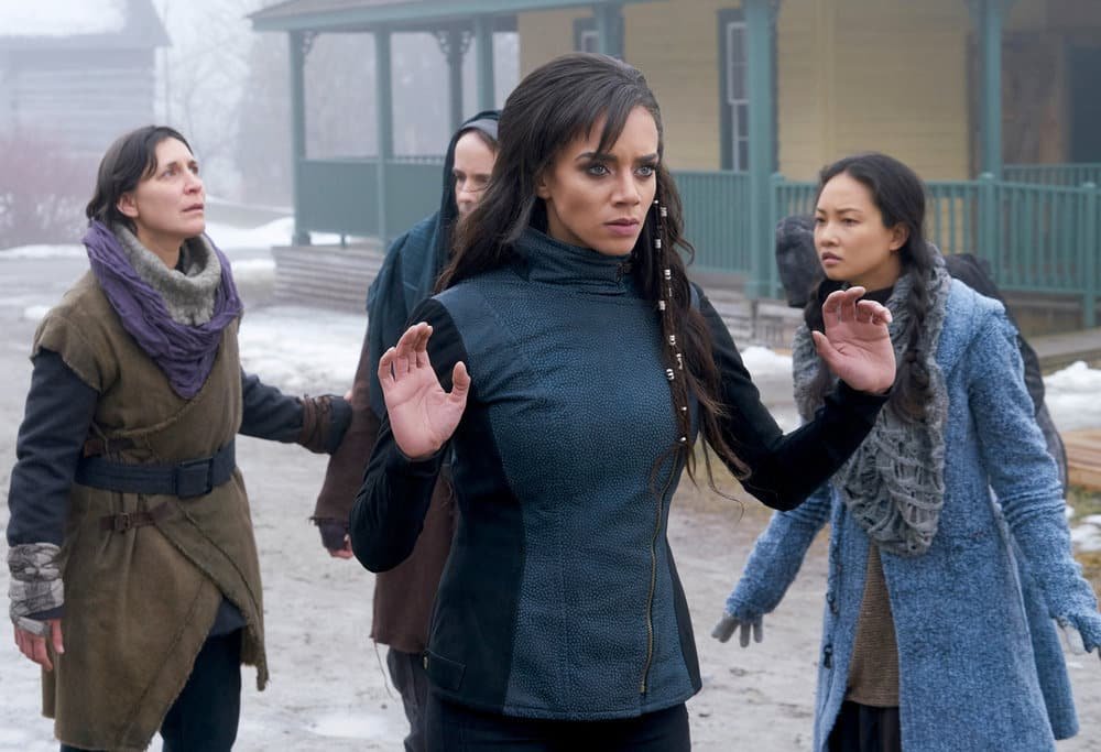 "KILLJOYS -- ""The Hullen Have Eyes"" Episode 303 -- Pictured: (l-r) Hannah John-Kamen as Dutch -- (Photo by: Steve Wilkie/Killjoys III Productions Limited/Syfy)"