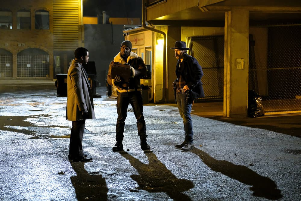 """WYNONNA EARP -- """"Whiskey Lullaby"""" Episode 206 -- Pictured: (l-r) Varun Saranga as Jeremy Chetri, Shamier Anderson as Agent Dolls, Tim Rozon as Doc Holliday"""