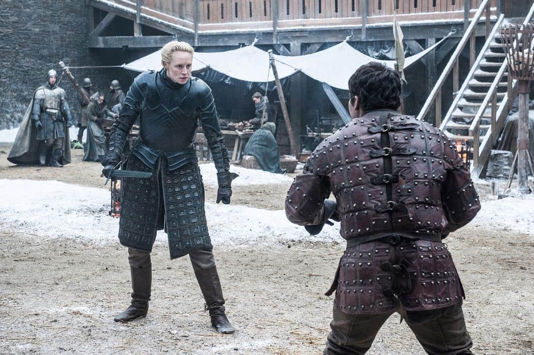 Episode 61 (season 7, episode 1), debut 7/16/17: Gwendoline Christie, Daniel Portman. photo: Helen Sloan/courtesy of HBO