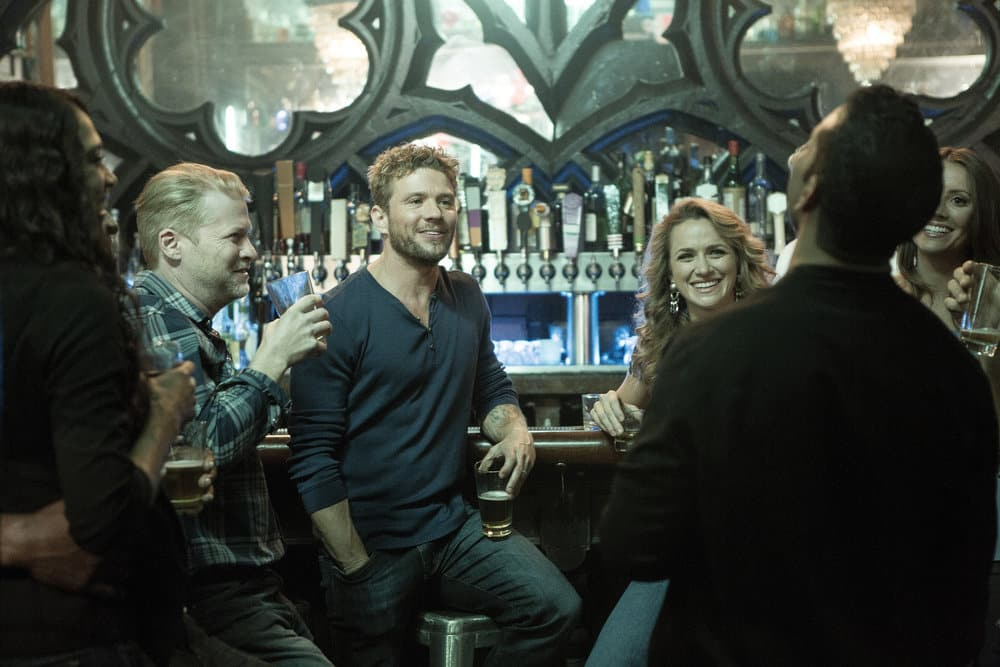 "SHOOTER -- ""The Hunting Party"" Episode 201 -- Pictured: (l-r) Todd Lowe as Colin Dobbs, Ryan Phillippe as Bob Lee Swagger, Shantel Vansanten as Julie Swagger"