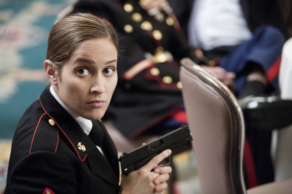 "SHOOTER -- ""The Hunting Party"" Episode 201 -- Pictured: Jaina Lee Ortiz as Angela Tio"