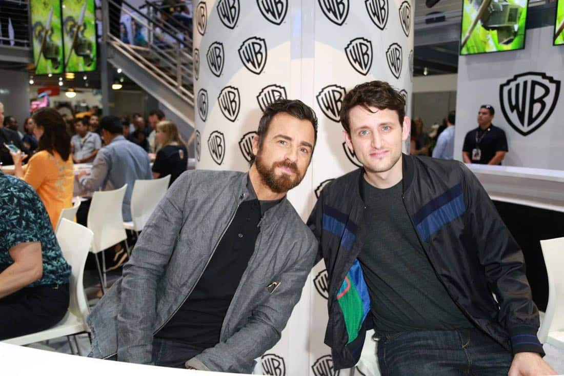 Stars of THE LEGO NINJAGO MOVIE, Justin Theroux and Zach Woods, visit the Warner Bros. booth at Comic-Con 2017 on Thursday, July 20. #WBSDCC (© 2017 WBEI. All Rights Reserved)
