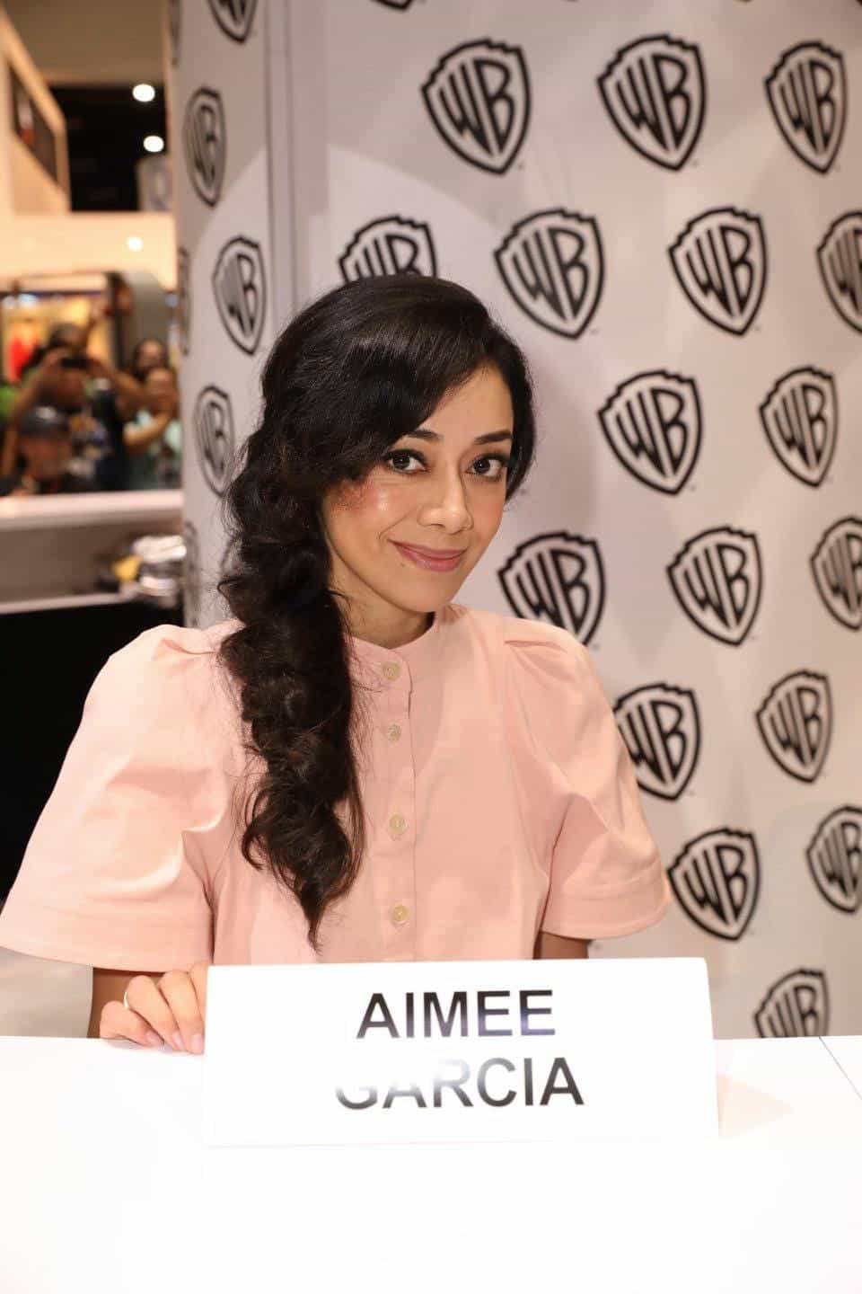 LUCIFER star Aimee Garcia enjoys her time at the Warner Bros. booth at Comic-Con 2017 on Saturday, July 22. #WBSDCC (© 2017 WBEI. All Rights Reserved)