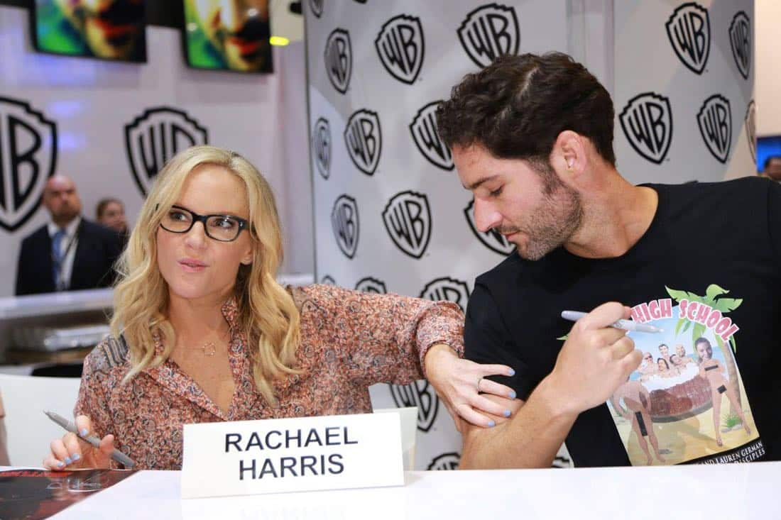 LUCIFER star Rachael Harris has a funny moment with Tom Ellis at the Warner Bros. booth at Comic-Con 2017 on Saturday, July 22. #WBSDCC (© 2017 WBEI. All Rights Reserved)