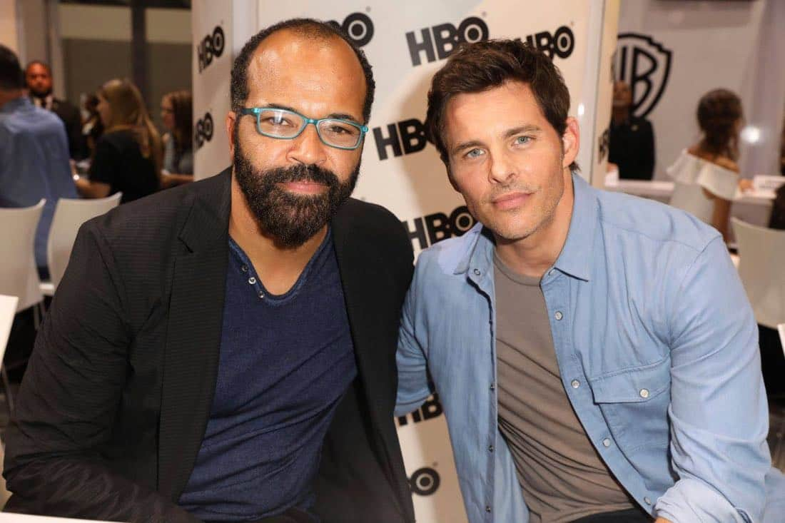 WESTWORLD star Jeffrey Wright (left) and James Marsden take on Comic-Con 2017 at the Warner Bros. booth on Saturday, July 22. #WBSDCC (© 2017 WBEI. All Rights Reserved)