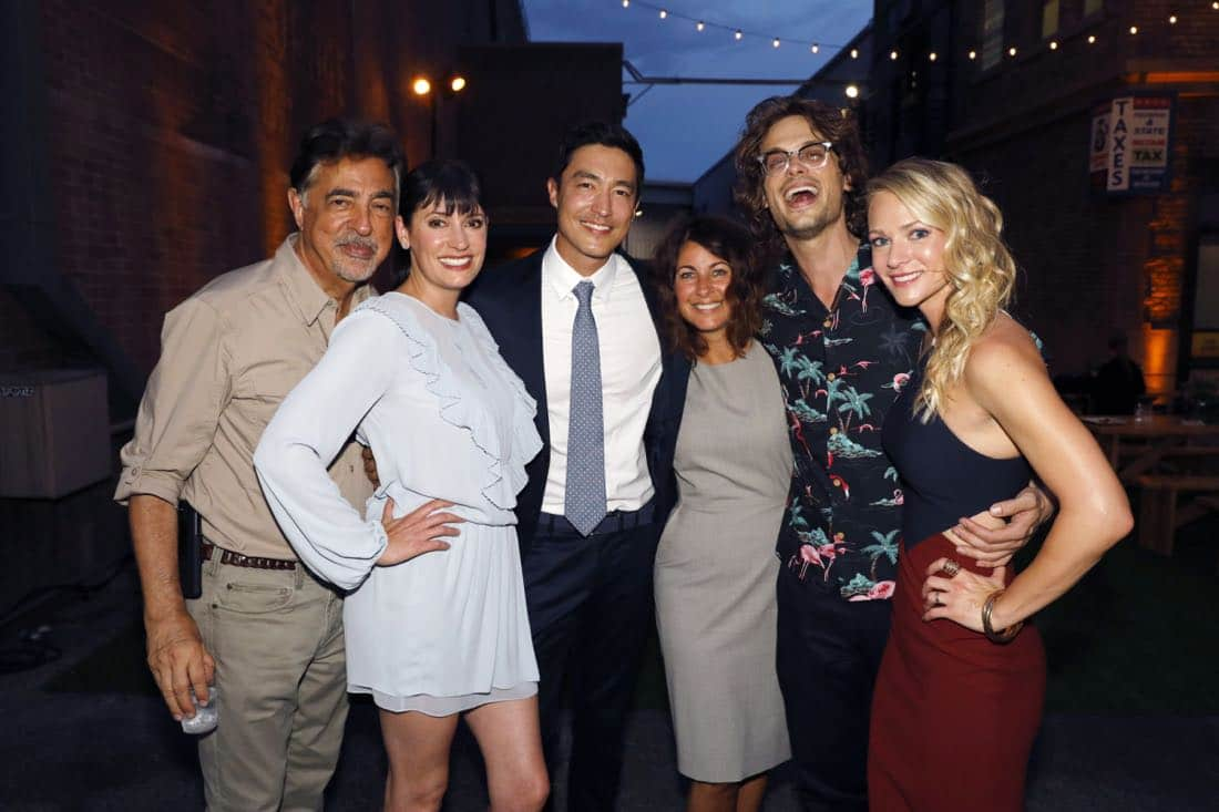 Joe Montegna, Paget Brewster, Daniel Henney, Erica Messer, Matthew Gray Gubler, A.J. Cook at the CBS Summer Soirée, held on August 1, 2017 in Los Angeles, CA. Photo: Trae Patton/CBS ©2017 Broadcasting Inc. All Rights Reserved