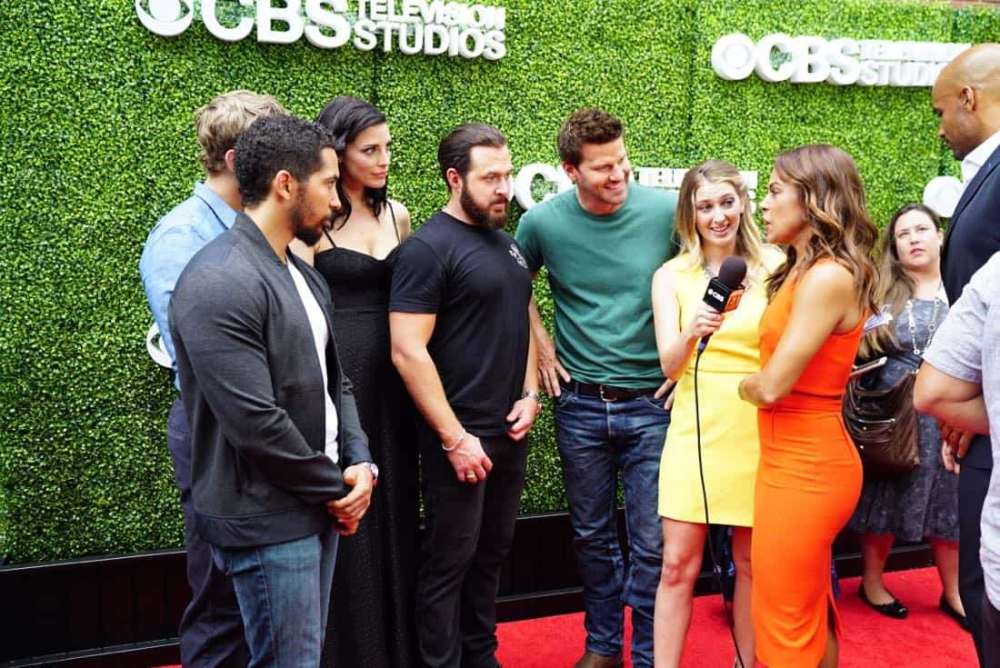 Neil Brown Jr, Max Thieriot, Jessica Pare, AJ Buckley, David Boreanaz and Toni Trucks from SEAL TEAM at the CBS Summer Soirée, held on August 1, 2017 in Los Angeles, CA. Photo: Sonja Flemming/CBS ©2017 Broadcasting Inc. All Rights Reserved