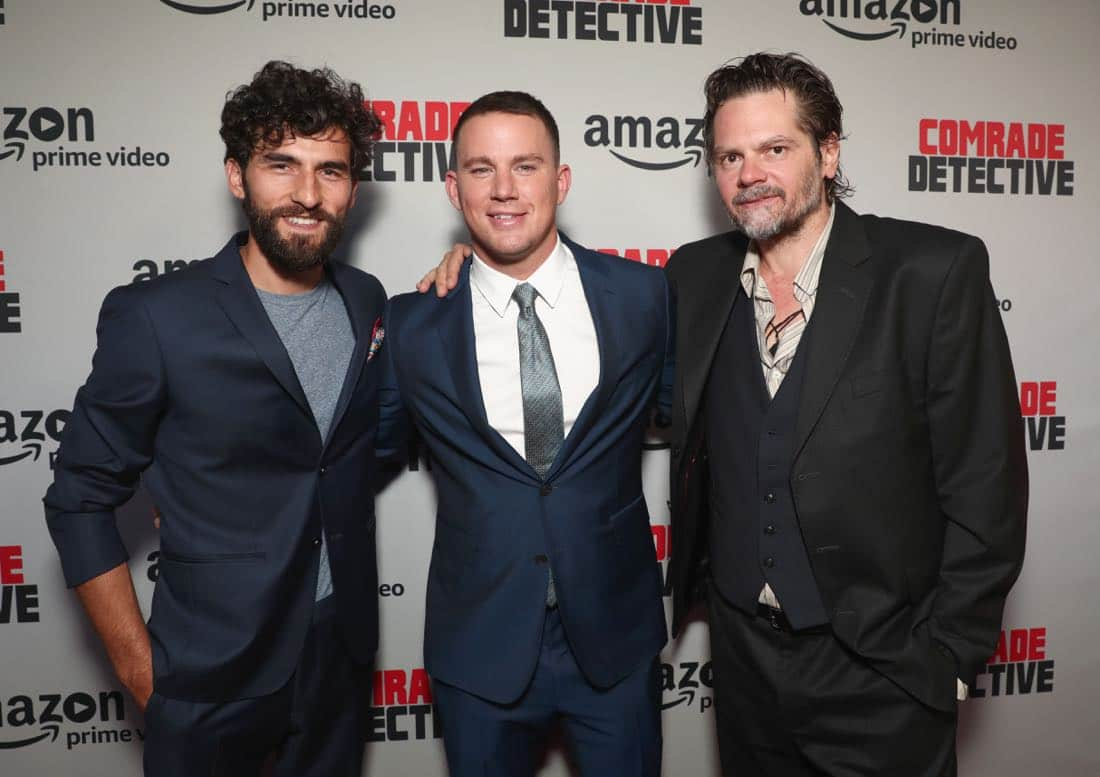 "LOS ANGELES, CA - AUGUST 03: (L-R) Actors Corneliu Ulici, Channing Tatum and Florin Piersic Jr. attend Amazon Prime Video Premiere Of Original Comedy Series ""Comrade Detective"" In Los Angeles on August 3, 2017 in Los Angeles, California. (Photo by Todd Williamson/Getty Images for Amazon Studios)"