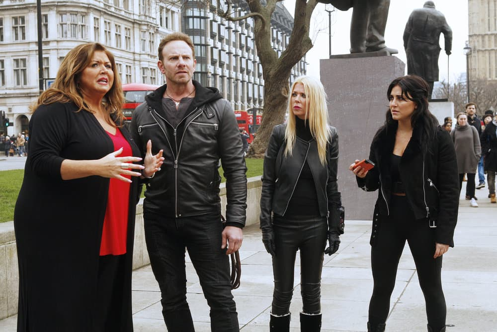 SHARKNADO 5: GLOBAL SWARMING -- Pictured: (l-r) Abby Lee Miller as Herself, Ian Ziering as Fin Shepard, Tara Reid as April Wexler, Cassie Scerbo as Nova Clarke -- (Photo by: Simon Mein/Syfy)