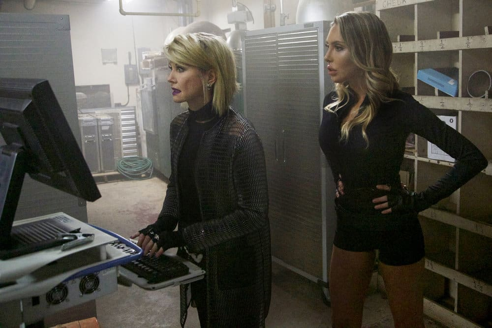 SHARKNADO 5: GLOBAL SWARMING -- Pictured: (l-r) Olivia Newton-John as Orion, Chloe Lattanzi as Electra -- (Photo by: Jon Jones/Acme Holding Company/Syfy)