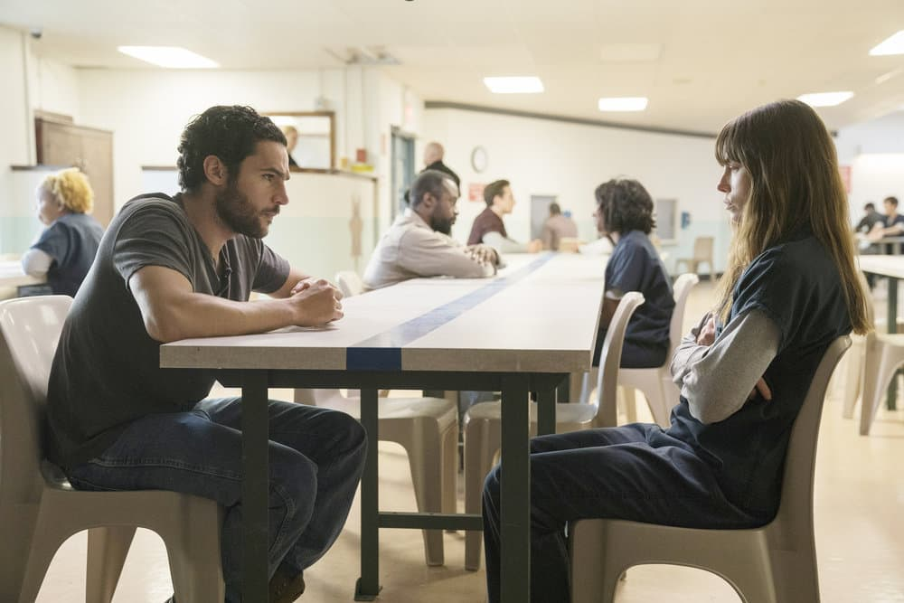 "THE SINNER -- ""Part II"" Episode 102 -- Pictured: (l-r) Christopher Abbott as Mason Tannetti, Jessica Biel as Cora Tannetti -- (Photo by: Peter Kramer/USA Network)"