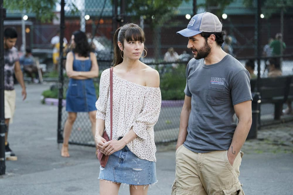 "THE SINNER -- ""Part II"" Episode 102 -- Pictured: (l-r) Jessica Biel as Cora Tannetti, Christopher Abbott as Mason Tannetti -- (Photo by: Peter Kramer/USA Network)"
