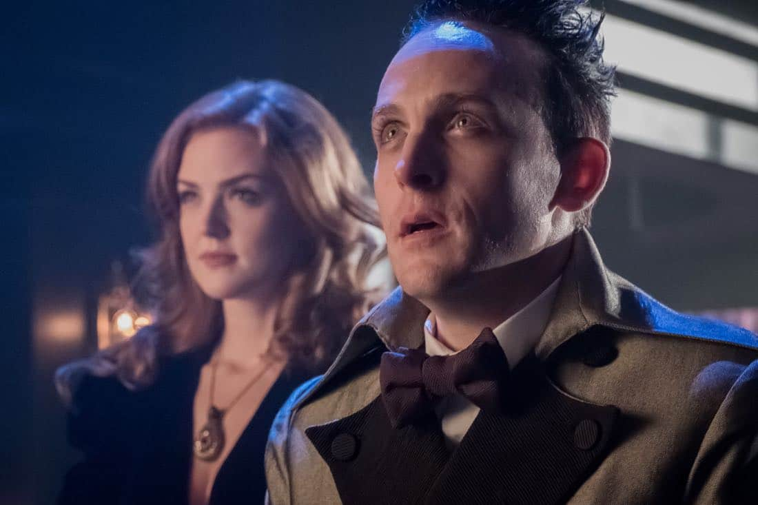 """GOTHAM: L-R: Maggie Geha and Robin Lord Taylor in the """"Pax Penguina"""" season premiere episode of GOTHAM airing Thursday, Sept. 21 (8:00-9:01 PM ET/PT) on FOX. ©2017 Fox Broadcasting Co. Cr: Jeff Neumann/FOX."""