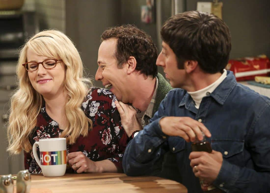 """The Proposal Proposal"" - Pictured: Bernadette (Melissa Rauch), Stuart (Kevin Sussman), and Howard Wolowitz (Simon Helberg). Amy gives Sheldon an answer to his proposal while Howard and Bernadette struggle with some unexpected news, on the 11th season premiere of THE BIG BANG THEORY, Monday, Sept. 25 (8:00-8:30 PM, ET/PT) on the CBS Television Network. Laurie Metcalf returns as Sheldon--С™Р""--ћР""Т's mother, Mary; Riki Lindhome returns as Ramona; and Stephen Hawking returns as himself. Photo: Michael Yarish/Warner Bros. Entertainment Inc. Р'В¬Р'В© 2017 WBEI. All rights reserved."