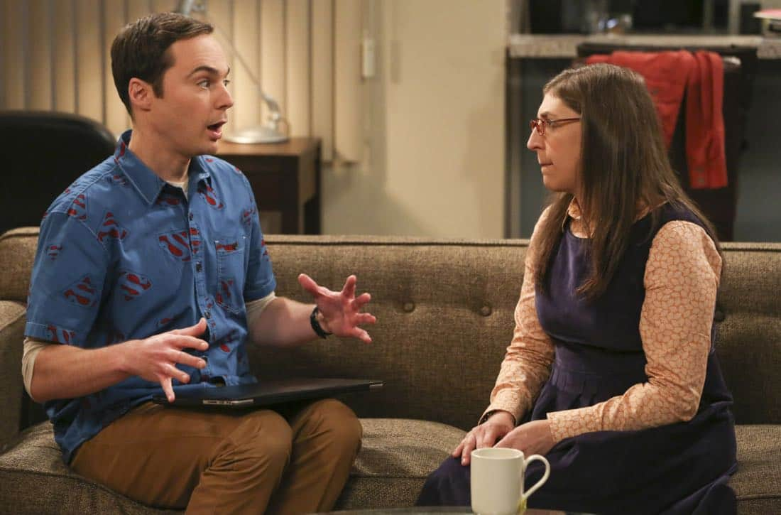 """The Proposal Proposal"" - Pictured: Sheldon Cooper (Jim Parsons) and Amy Farrah Fowler (Mayim Bialik). Amy gives Sheldon an answer to his proposal while Howard and Bernadette struggle with some unexpected news, on the 11th season premiere of THE BIG BANG THEORY, Monday, Sept. 25 (8:00-8:30 PM, ET/PT) on the CBS Television Network. Laurie Metcalf returns as Sheldon--С™Р""--ћР""Т's mother, Mary; Riki Lindhome returns as Ramona; and Stephen Hawking returns as himself. Photo: Michael Yarish/Warner Bros. Entertainment Inc. Р'В¬Р'В© 2017 WBEI. All rights reserved."