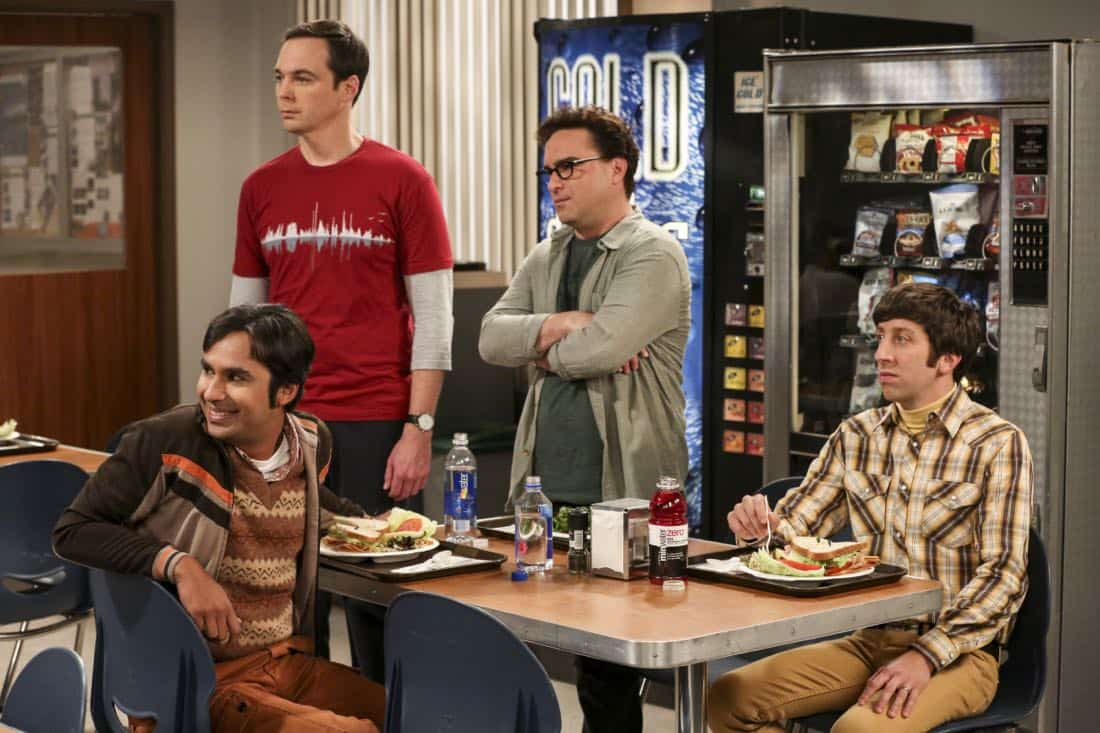 """The Proposal Proposal"" - Pictured: Rajesh Koothrappali (Kunal Nayyar), Sheldon Cooper (Jim Parsons), Leonard Hofstadter (Johnny Galecki) and Howard Wolowitz (Simon Helberg). Amy gives Sheldon an answer to his proposal while Howard and Bernadette struggle with some unexpected news, on the 11th season premiere of THE BIG BANG THEORY, Monday, Sept. 25 (8:00-8:30 PM, ET/PT) on the CBS Television Network. Laurie Metcalf returns as Sheldon--С™Р""--ћР""Т's mother, Mary; Riki Lindhome returns as Ramona; and Stephen Hawking returns as himself. Photo: Michael Yarish/Warner Bros. Entertainment Inc. Р'В¬Р'В© 2017 WBEI. All rights reserved."
