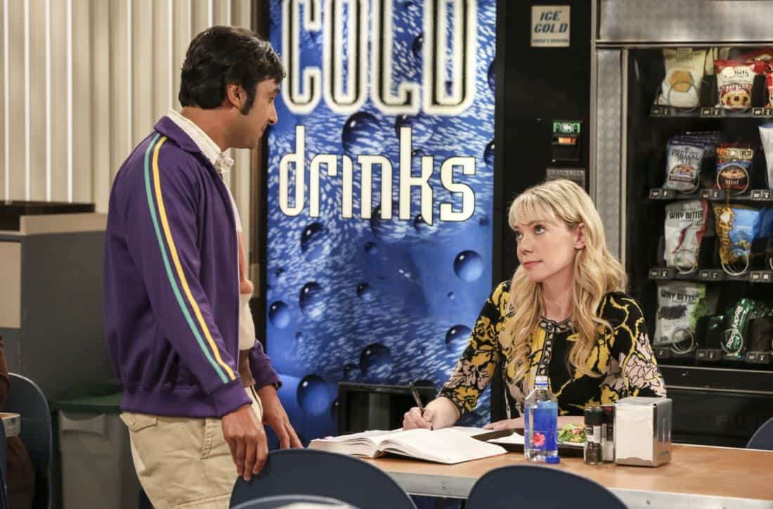 """The Proposal Proposal"" -- Pictured: Rajesh Koothrappali (Kunal Nayyar) and Dr. Ramona Nowitzki (Riki Lindhome). Amy gives Sheldon an answer to his proposal while Howard and Bernadette struggle with some unexpected news, on the 11th season premiere of THE BIG BANG THEORY, Monday, Sept. 25 (8:00-8:30 PM, ET/PT) on the CBS Television Network. Laurie Metcalf returns as Sheldon's mother, Mary; Riki Lindhome returns as Ramona; and Stephen Hawking returns as himself. Photo: Michael Yarish/Warner Bros. Entertainment Inc. © 2017 WBEI. All rights reserved."