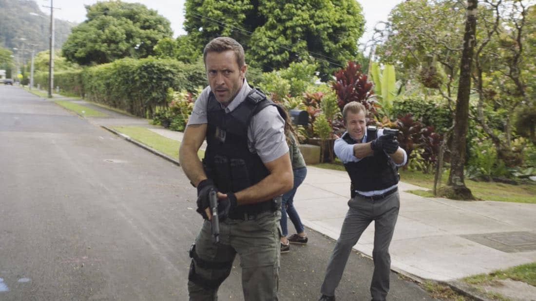 """""""'A'ole e 'lelo mai ana ke ahi ua ana ia"""" -- McGarrett and Danny recruit Tani Rey (Meaghan Rath) to join the task force when diabolical hacker Aaron Wright (Joey Lawrence) releases a dangerous arsonist from prison, on the eighth season premiere of HAWAII FIVE-0, Friday, Sept. 29 (9:00-10:00 PM, ET/PT) on the CBS Television Network. The season premiere includes animation of one of McGarrett and Danny's infamous """"car-guements."""" Also, Randy Couture returns, and Joey Lawrence joins his brother, Andrew, when he guest stars as Aaron Wright, a hacker. Pictured left to right: Alex O'Loughlin as Steve McGarrett and Scott Caan as Danny :Danno"""" Williams.   Photo: Best Screen Grab Available/CBS ©2017 CBS Broadcasting, Inc. All Rights Reserved  (""""'A'ole e 'lelo mai ana ke ahi ua ana ia"""" is Hawaiian for """"Fire Will Never Say that It Has Had Enough"""")"""