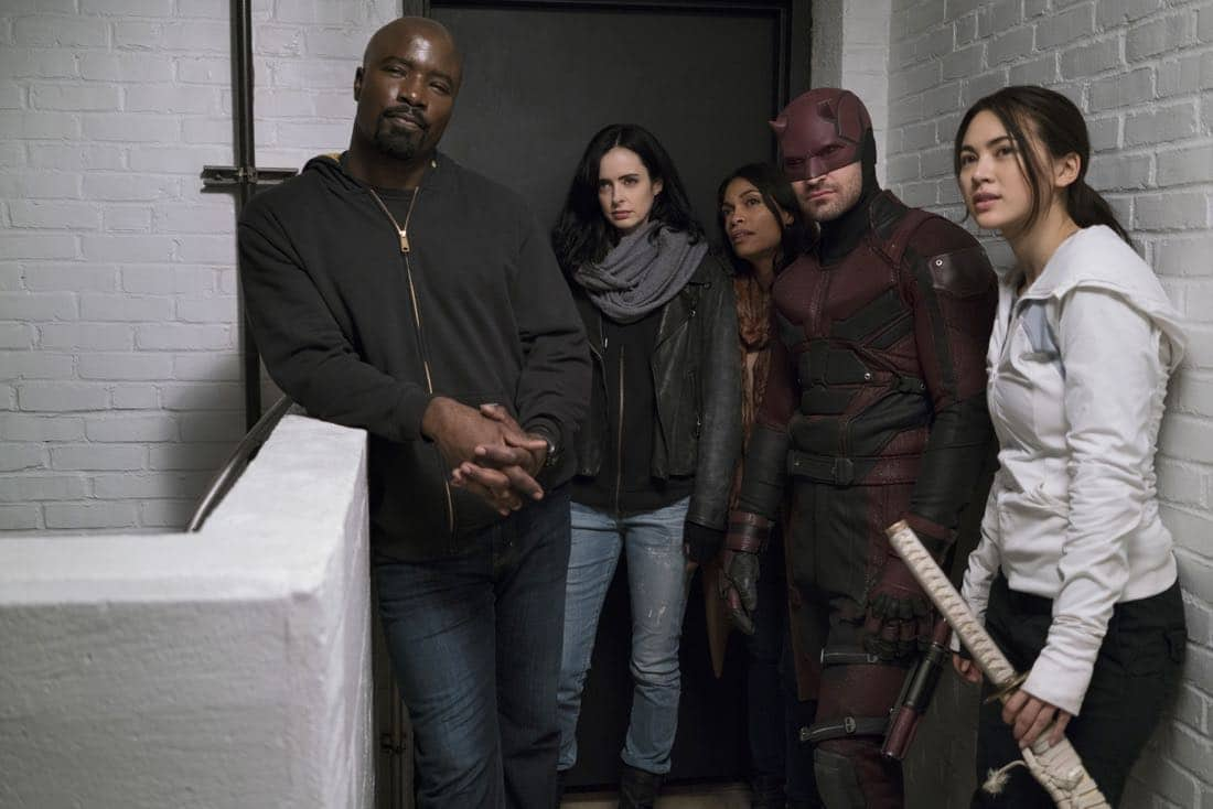 Marvel's The Defenders Mike Colter, Krysten Ritter, Rosario Dawson, Charlie Cox, Jessica Henwick