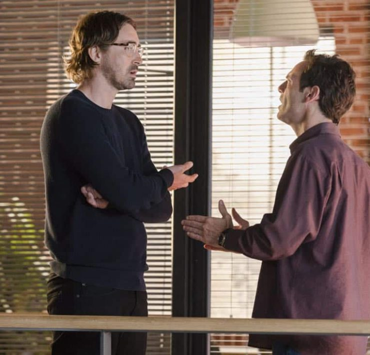 Lee Pace as Joe MacMillan, Scoot McNairy as Gordon Clark - Halt and Catch Fire _ Season 4, Episode 3 - Photo Credit: Bob Mahoney/AMC