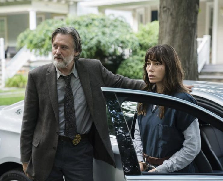 """THE SINNER -- """"Part VI"""" Episode 106 -- Pictured: (l-r) Bill Pullman as Harry Ambrose, Jessica Biel as Cora Tannetti -- (Photo by: Peter Kramer/USA Network)"""