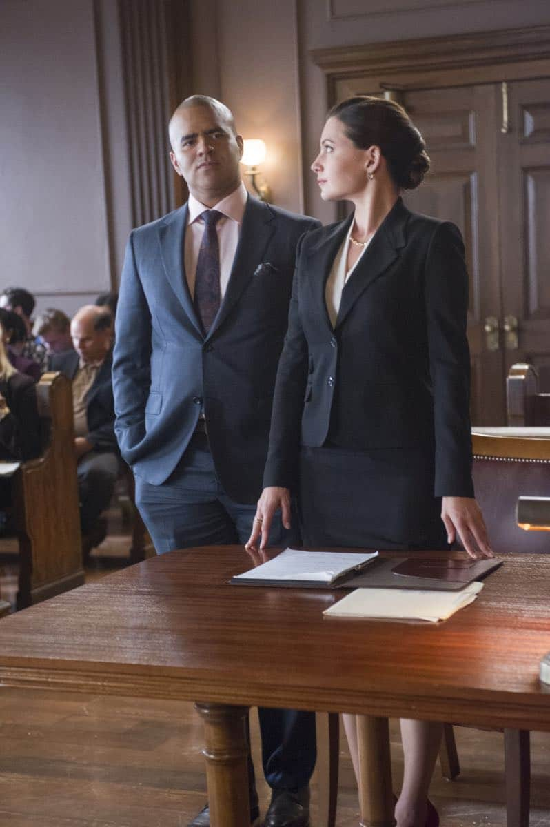 """School for Scandal""-- When Bull joins the district attorney in a case against Kara Clayton (Minka Kelly), who claims she killed her billionaire husband in self-defense, tensions run high when he learns that his on-again, off-again romantic rival, Diana Lindsay (Jill Flint), is defending the widow. Also, Chunk makes a decision about his future, on the second season premiere of BULL, Tuesday, Sept. 26 (9:00-10:00 PM, ET/PT) on the CBS Television Network. Pictured L-R: Chris Jackson as Chunk Palmer and Jill Flint as Diana Lindsay Photo: Jeffrey Neira/CBS ©2017 CBS Broadcasting, Inc. All Rights Reserved"