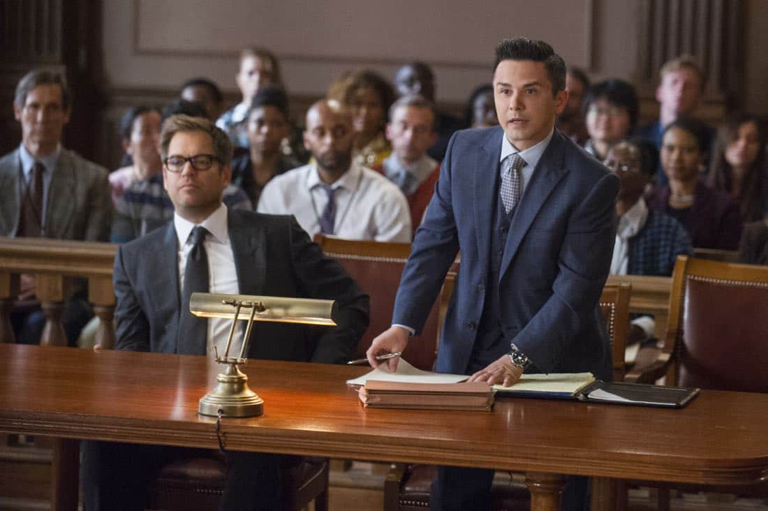 """School for Scandal""-- When Bull joins the district attorney in a case against Kara Clayton (Minka Kelly), who claims she killed her billionaire husband in self-defense, tensions run high when he learns that his on-again, off-again romantic rival, Diana Lindsay (Jill Flint), is defending the widow. Also, Chunk makes a decision about his future, on the second season premiere of BULL, Tuesday, Sept. 26 (9:00-10:00 PM, ET/PT) on the CBS Television Network. Pictured L-R: Michael Weatherly as Dr. Jason Bull and Freddy Rodriguez as Benny Colón Photo: Jeffrey Neira/CBS ©2017 CBS Broadcasting, Inc. All Rights Reserved"