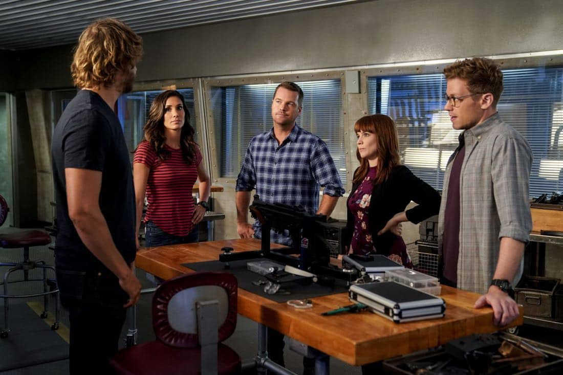 """Party Crashers"" -- Pictured: Daniela Ruah (Special Agent Kensi Blye), Chris O'Donnell (Special Agent G. Callen), Renée Felice Smith (Intelligence Analyst Nell Jones), and Barrett Foa (Tech Operator Eric Beale). After Hetty turns in retirement papers and then disappears, Executive Assistant Director Shay Mosley (Nia Long) arrives in Los Angeles to oversee the team and immediately makes staffing changes. Also, still mourning the death of his wife and living in a trailer on the beach, Sam is adamant that Callen should find a new partner, on the ninth season premiere of NCIS: LOS ANGELES, Sunday, Oct. 1 (9:30-10:30, ET/PT) on the CBS Television Network. Photo: Erik Voake/CBS ©2017 CBS Broadcasting, Inc. All Rights Reserved"