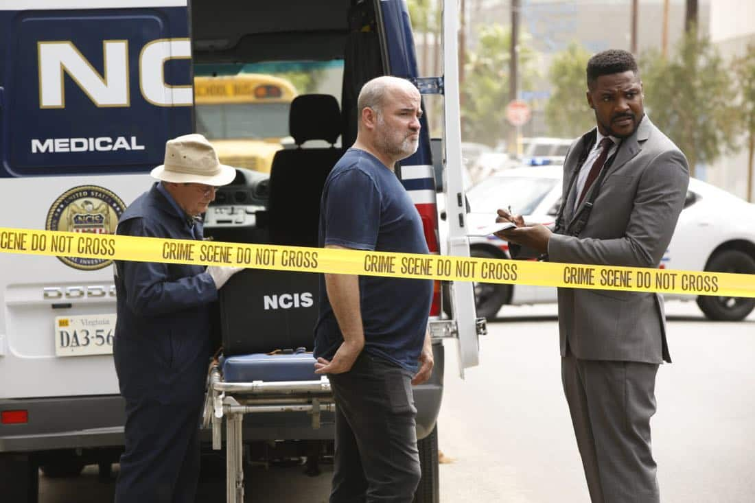 """""""House Divided"""" -- Two months after Gibbs and McGee were last seen fighting an elusive group of rebels in a Paraguay jungle, the NCIS team in D.C. tirelessly searches for their missing colleagues. Also, Vance and Torres are summoned to a congressional hearing regarding the fallout from the Paraguay mission, on the 15th season premiere of NCIS, Tuesday, Sept. 26 (8:00-9:00, ET/PT) on the CBS Television Network. Pictured: David McCallum, Duane Henry. Photo: Monty Brinton/CBS ©2017 CBS Broadcasting, Inc. All Rights Reserved"""