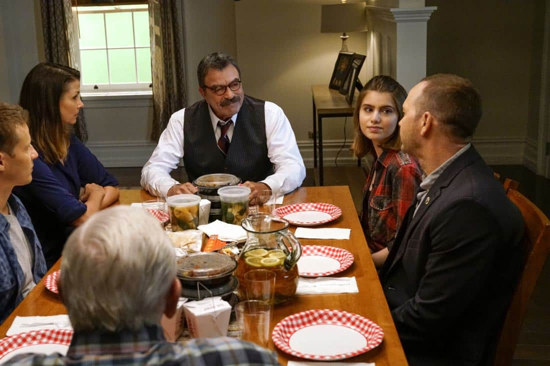 """""""Cutting Losses"""" -- Danny contemplates retiring until Erin enlists him to help her with a case involving her ex-husband, Jack (Peter Hermann). Also, Jamie and Eddie go undercover as a couple, and Frank butts heads with the new mayor of New York City, Margaret Dutton (Lorraine Bracco), on the eighth season premiere of BLUE BLOODS, Friday, Sept. 29 (10:00-11:00 PM, ET/PT) on the CBS Television Network. Pictured: Will Estes, Bridget Moynihan, Tom Selleck, Sami Gayle, Donnie Wahlberg, Len Cariou. Photo: John Paul Filo/CBS ©2017CBS Broadcasting Inc. All Rights Reserved."""