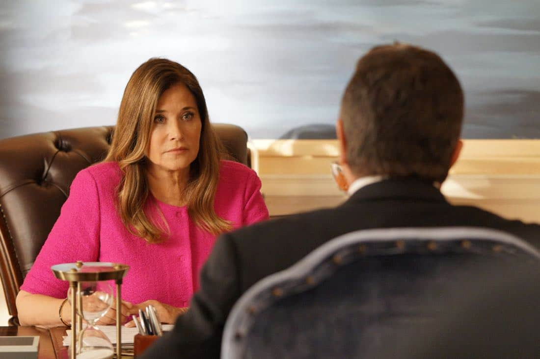 """""""Cutting Losses"""" -- Danny contemplates retiring until Erin enlists him to help her with a case involving her ex-husband, Jack (Peter Hermann). Also, Jamie and Eddie go undercover as a couple, and Frank butts heads with the new mayor of New York City, Margaret Dutton (Lorraine Bracco), on the eighth season premiere of BLUE BLOODS, Friday, Sept. 29 (10:00-11:00 PM, ET/PT) on the CBS Television Network. Pictured: Lorraine Bracco guest stars as the new Mayor Margaret Dutton, Tom Selleck as Frank Reagan. Photo: John Paul Filo/CBS ©2017CBS Broadcasting Inc. All Rights Reserved."""