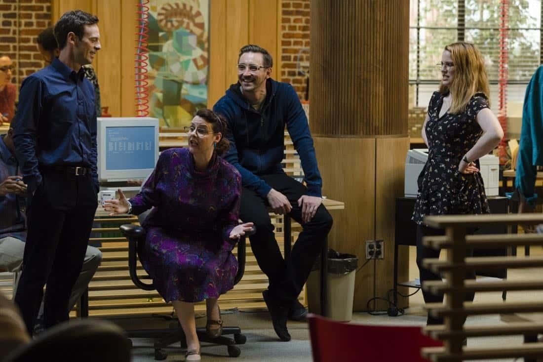 Scoot McNairy as Gordon Clark, Lee Pace as Joe MacMillan; group- Halt and Catch Fire _ Season 4, Episode 4 - Photo Credit: Bob Mahoney/AMC
