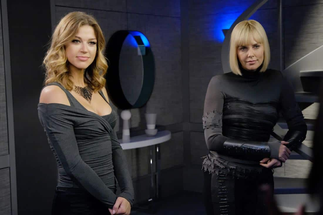 "THE ORVILLE:  L-R:  Adrianne Palicki and guest star Charlize Theron in the ""Pria"" episode of THE ORVILLE airing Thursday, Oct. 5 (9:01-10:00 PM ET/PT) on FOX. ©2017 Fox Broadcasting Co. Cr:  Ray Mickshaw/FOX"