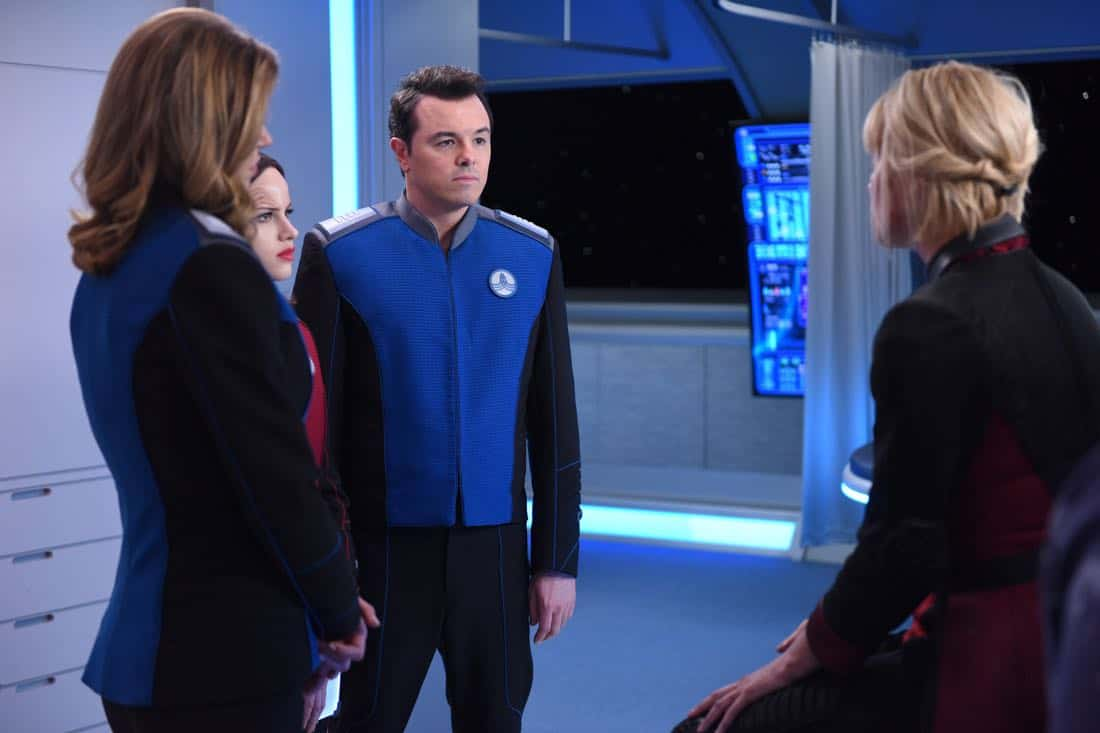 "THE ORVILLE:  L-R:  Adrianne Palicki, Halston Sage, Seth MacFarlane and guest star Charlize Theron in the ""Pria"" episode of THE ORVILLE airing Thursday, Oct. 5 (9:01-10:00 PM ET/PT) on FOX. ©2017 Fox Broadcasting Co. Cr:  Michael Becker/FOX"