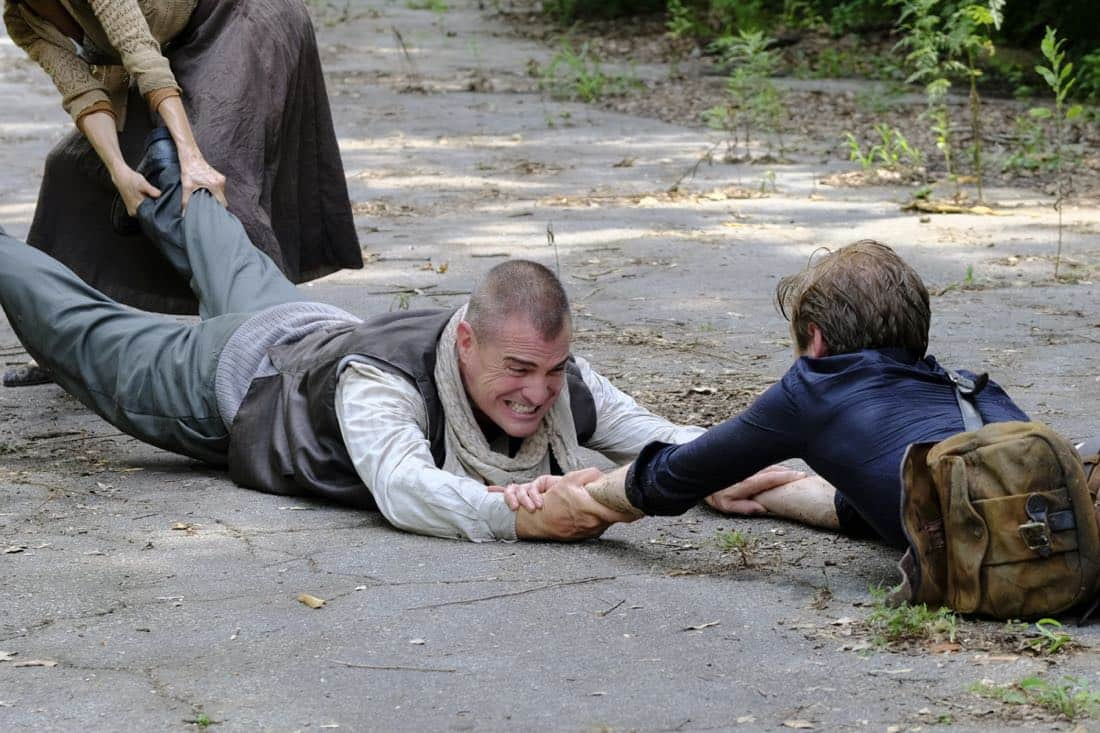 """""""DIY or DIE"""" -- Using a cell phone and soccer ball, MacGyver and the team must find a Navy SEAL, who is believed to be alive in captivity in the Middle East, on the second season premiere of MACGYVER, Friday, Sept. 29 (8:00-9:00 PM, ET/PT) on the CBS Television Network. Pictured: George Eads, Lucas Till Photo: Guy D'Alema/CBS ©2017 CBS Broadcasting, Inc. All Rights Reserved"""