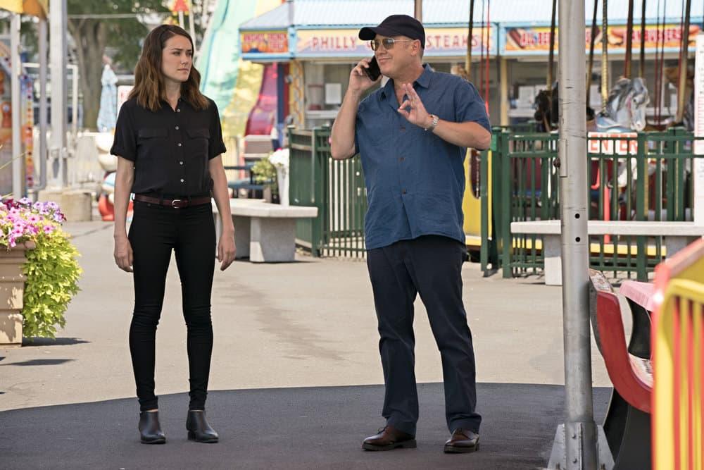 "THE BLACKLIST -- ""Smokey Putnam (#30)"" Episode 501 -- Pictured: (l-r) Megan Boone as Elizabeth Keen, James Spader as Raymond ""Red"" Reddington -- (Photo by Virginia Sherwood/NBC)"