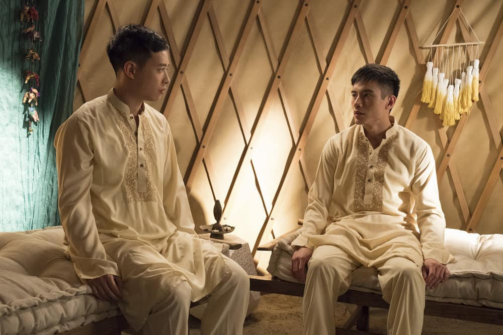 "THE GOOD PLACE -- ""Everything is Great!"" Episode 201 -- Pictured: (l-r) Hayden Szeto as Luang, Manny Jacinto as Jianyu -- (Photo by: Colleen Hayes/NBC)"