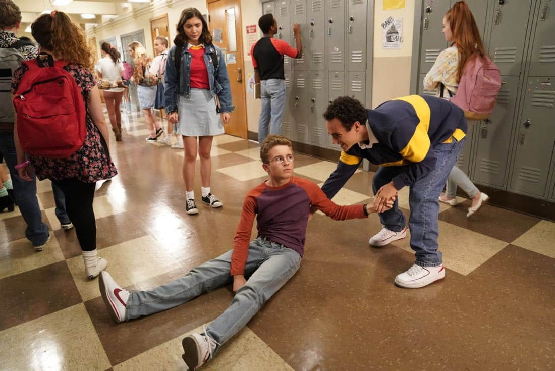 "THE GOLDBERGS - ""Weird Science"" - Beverly and Murray move Erica into college where her roommate is also named Erica. Later, Beverly has a hard time letting go and ends up sleeping over in the dorm, much to Erica's dismay.  Meanwhile, Adam tries to give Barry the perfect girlfriend, even trying to build one like in the movie ""Weird Science,"" as he embarks into his senior year, on the season premiere of ""The Goldbergs,"" WEDNESDAY, SEPTEMBER 27 (8:00-8:30 p.m. EDT), on The ABC Television Network. (ABC/Greg Gayne)"