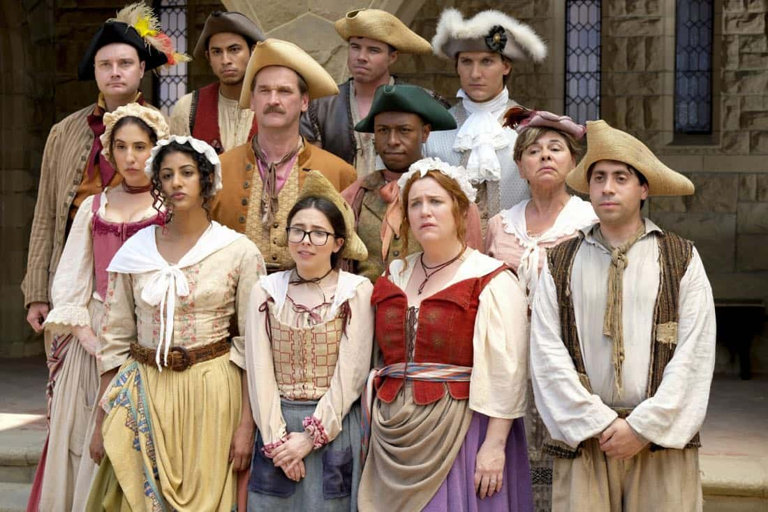 "Crazy Ex-Girlfriend -- ""Josh's Ex-Girlfriend Wants Revenge"" -- Image Number: CEG301a_0507.jpg -- Pictured (L-R top row): Michael McMillian as Tim, Erick Lopez as Hector, David Hull as White Josh and Scott Michael Foster as Nathaniel (L-R middle row): Gabrielle Ruiz as Valencia, Pete Gardner as Darryl and Gina Gallego as Mrs. Hernandez (L-R front row): Vella Lovell as Heather, Esther Povitsky as Maya, Donna Lynne Champlin as Paula and Danny Jolles as George -- Photo: Tyler Golden/The CW -- © 2017 The CW Network, LLC. All Rights Reserved."