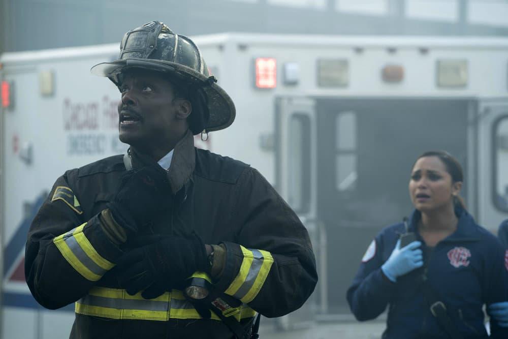 "CHICAGO FIRE -- ""It Wasn't Enough"" Episode 601 -- Pictured: (l-r) Eamonn Walker as Wallace Boden, Monica Raymund as Gabriela Dawson -- (Photo by: Elizabeth Morris/NBC)"