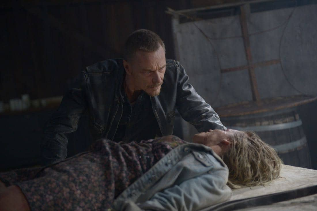 "THE EXORCIST: L-R: Ben Daniels and guest star Zibby Allen in the ""Janus"" season premiere episode of THE EXORCIST airing Friday, Sept. 29 (9:00-10:00 PM ET/PT) on FOX. ©Fox Broadcasting Co. Cr: Sergei Bachlakov/FOX"