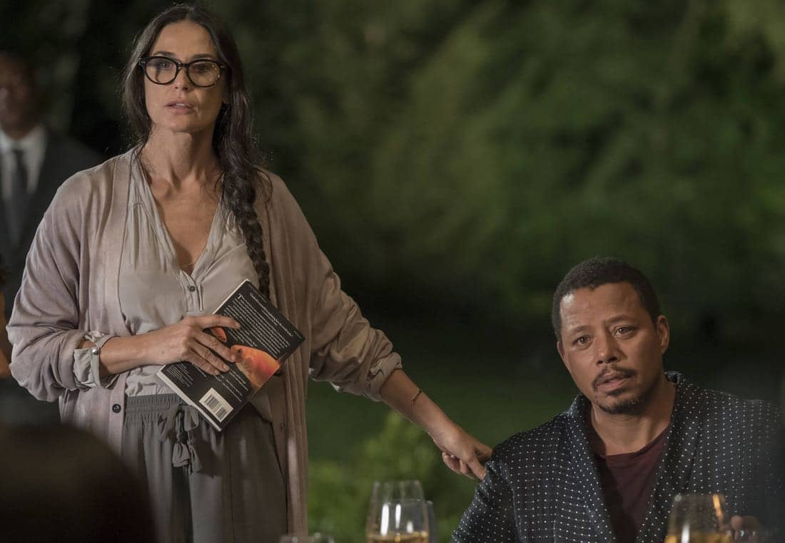 "EMPIRE: Pictured L-R: Guest star Demi Moore and Terrence Howard in the ""Noble Memory"" episode of EMPIRE premiering Wednesday, Sept. 27 (8:00-9:00 PM ET/PT) on FOX. ©2017 Fox Broadcasting Co. CR: Chuck Hodes/FOX"