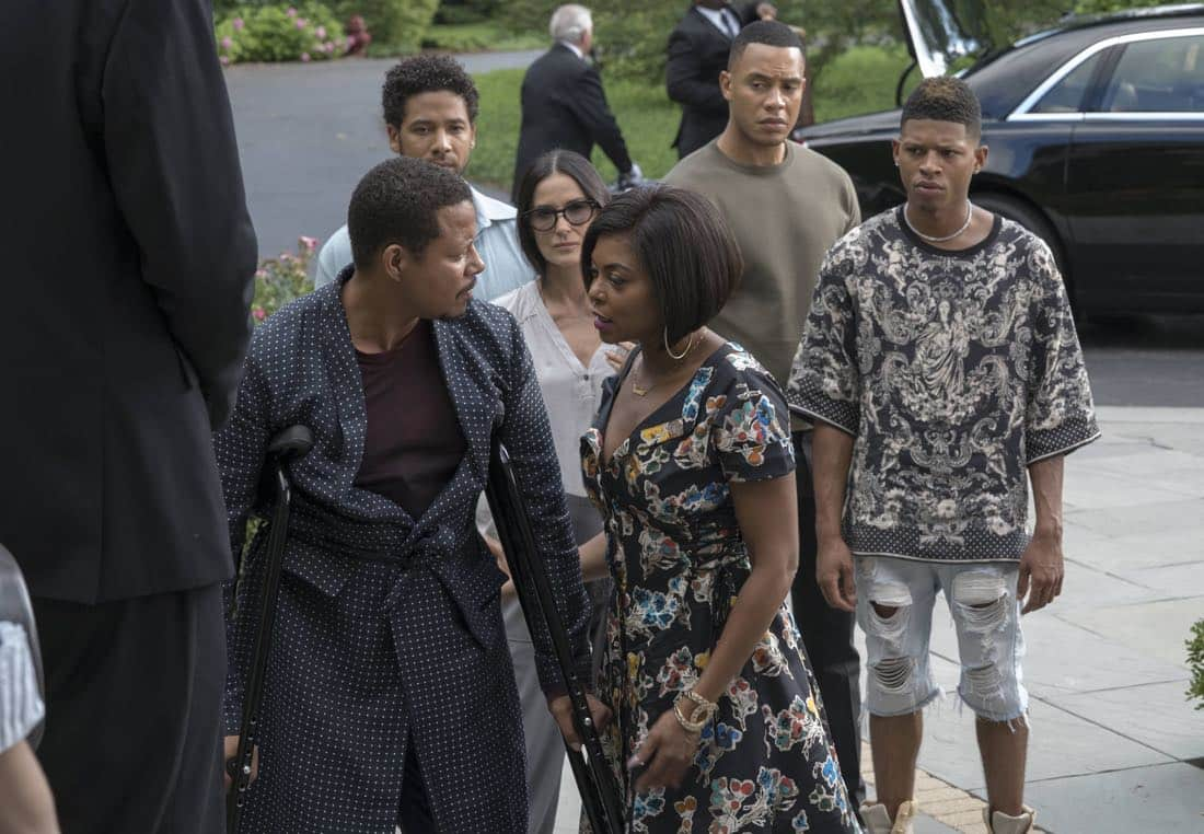 "EMPIRE: Pictured L-R: Terrence Howard, Jussie Smollett, guest star Demi Moore, Taraji P. Henson, Trai Byers and Bryshere Gray in the ""Noble Memory"" episode of EMPIRE premiering Wednesday, Sept. 27 (8:00-9:00 PM ET/PT) on FOX. ©2017 Fox Broadcasting Co. CR: Chuck Hodes/FOX"