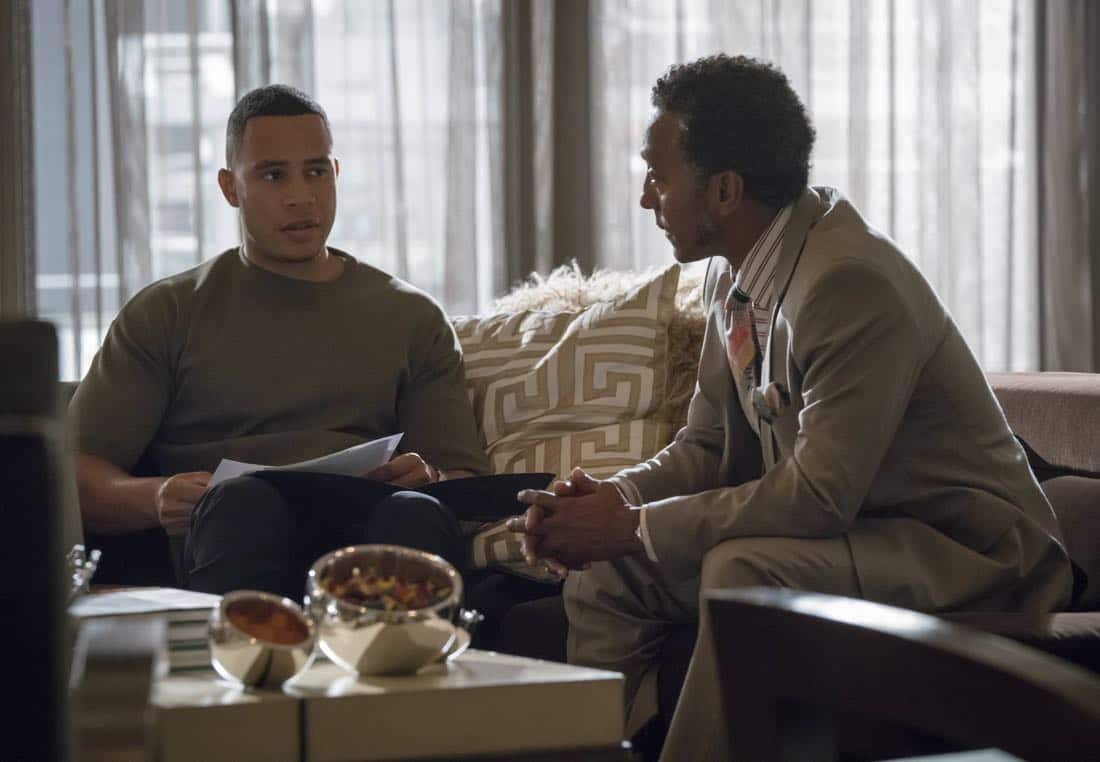 "EMPIRE: Pictured L-R: Trai Byers and Andre Royo in the ""Noble Memory"" episode of EMPIRE premiering Wednesday, Sept. 27 (8:00-9:00 PM ET/PT) on FOX. ©2017 Fox Broadcasting Co. CR: Chuck Hodes/FOX"