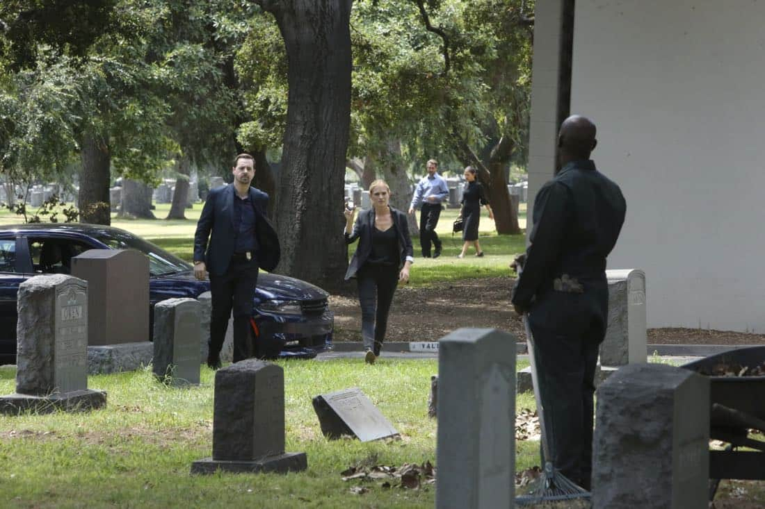 """""""Twofer"""" -- NCIS is called in to investigate when the body of a missing Navy Lieutenant who disappeared a year and a half ago is located by a cemetery grounds crew while they are relocating caskets on the property. Also, Gibbs and McGee must pass a psych evaluation with Doctor Grace Confalone (Laura San Giacomo) before officially resuming all work responsibilities, on NCIS, Tuesday, Oct. 3 (8:00-9:00 PM, ET/PT) on the CBS Television Network. Pictured:   Sean Murray, Emily Wickersham. Photo: Patrick McElhenney/CBS ©2017 CBS Broadcasting, Inc. All Rights Reserved"""